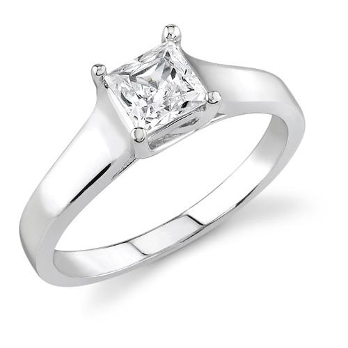 1.00 Carat Cathedral Princess Cut Diamond Ring, 14K White Gold