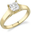 3/4 Carat Cathedral Princess Cut Diamond Engagement Ring, 14K Yellow Gold