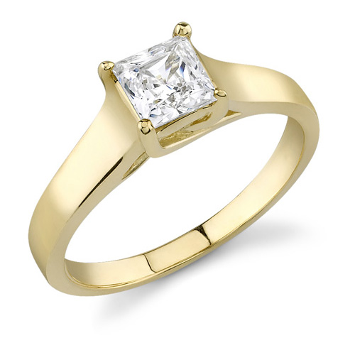 1.00 Carat Cathedral Princess Cut Diamond Ring, 14K Yellow Gold