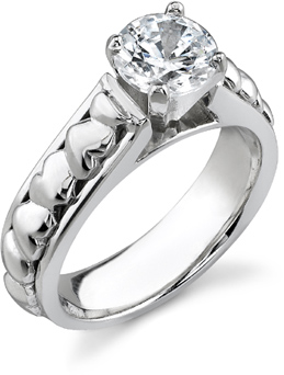 Mounting/Setting Only for Heart Engagement Ring, without Diamond, 14K White Gold
