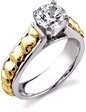 Diamond Heart 1 Carat Engagement Ring, 14K Two-Tone Gold