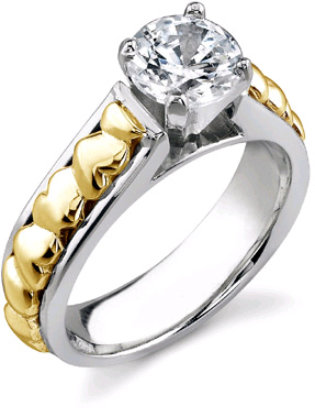 Mounting/Setting Only for Heart Engagement Ring, without Diamond, 14K Two-Tone Gold