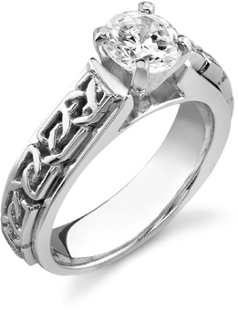 Celtic Engagement Ring, 14K White Gold, 1 Carat Diamond (Apples of Gold)