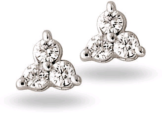 Three Stone Diamond Earrings, 14K White Gold