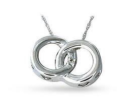 Buy Diamond Circle Link Pendant, 14K White Gold