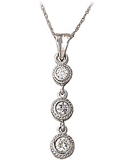 Buy Victorian Three Stone Diamond Pendant, 14K White Gold
