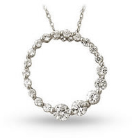 1 Carat Diamond Journey Pendant, 14K White Gold (Pendants, Apples of Gold)