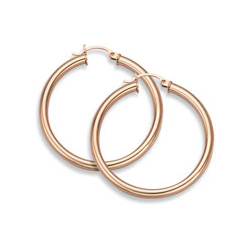 14K Rose Gold Hoop Earrings, 1 1/8