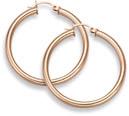 14K Rose Gold Hoop Earrings, 1 1/8