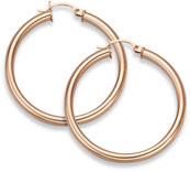 14K Rose Gold Hoop Earrings, 1 5/16