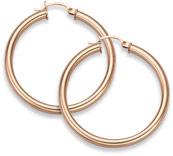 14K Rose Gold Hoop Earrings, 1 5/16