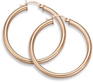 14K Rose Gold Hoop Earrings, 1 1/2
