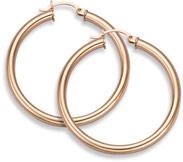 14K Rose Gold Hoop Earrings, 1 1/2