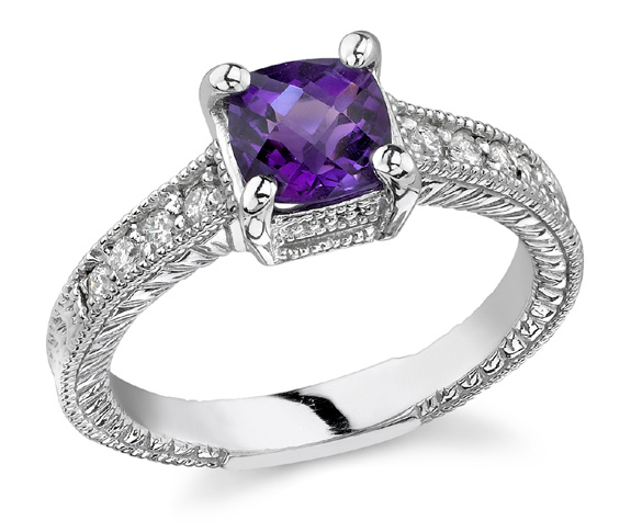 1930s Jewelry | Art Deco Style Jewelry Art Deco Diamond and Amethyst Ring 14K White Gold $725.00 AT vintagedancer.com