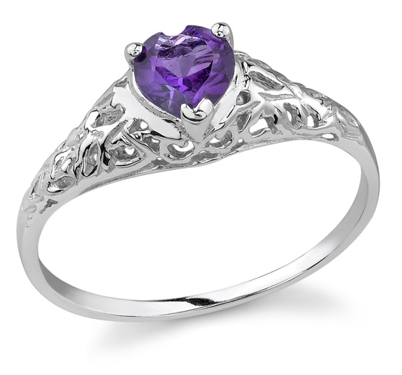 Heart-Cut Amethyst Gemstone Ring, 14K White Gold