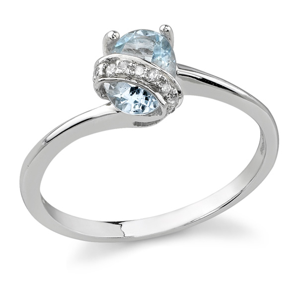 Diamond Swirl Aquamarine Ring, 14K White Gold