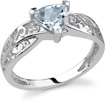 Trillion Aquamarine Ring with Diamonds in 14K White Gold