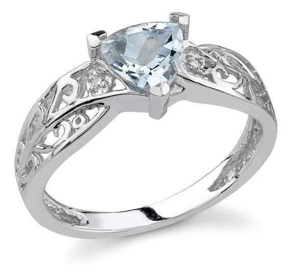 Buy Trillion Aquamarine Ring with Diamonds in 14K White Gold
