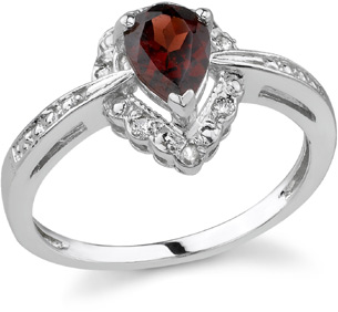 Buy Pear-Shaped Royal Garnet Diamond Ring, 14K White Gold