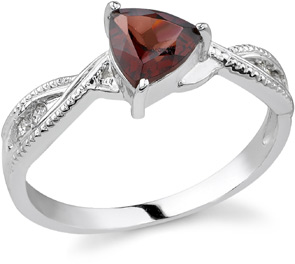 Buy Trillion-Cut Garnet and Diamond Ring, 14K White Gold