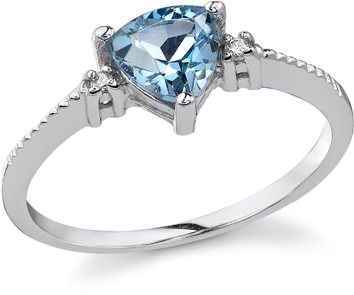 Trillion Blue Topaz and Diamond Ring, 14K White Gold (Apples of Gold)