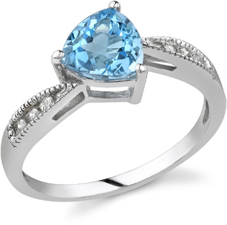 Buy Trillion-Cut Blue Topaz and Diamond Ring, 14K White Gold