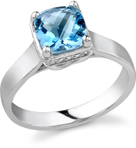 Cathedral Style Blue Topaz Ring, 14K White Gold