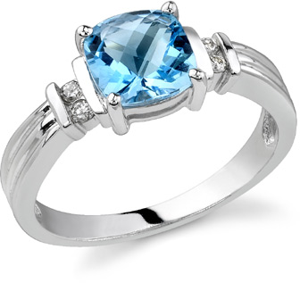 Isabella Blue Topaz and Diamond Ring, 14K White Gold