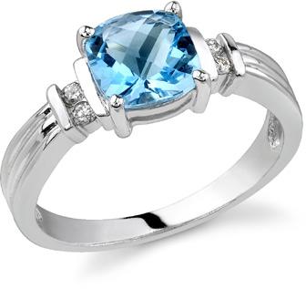 Isabella Blue Topaz and Diamond Ring, 14K White Gold