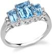 Three Stone Blue Topaz and Diamond Ring, 14K White Gold