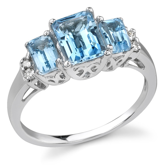 Buy Three Stone Blue Topaz and Diamond Ring, 14K White Gold
