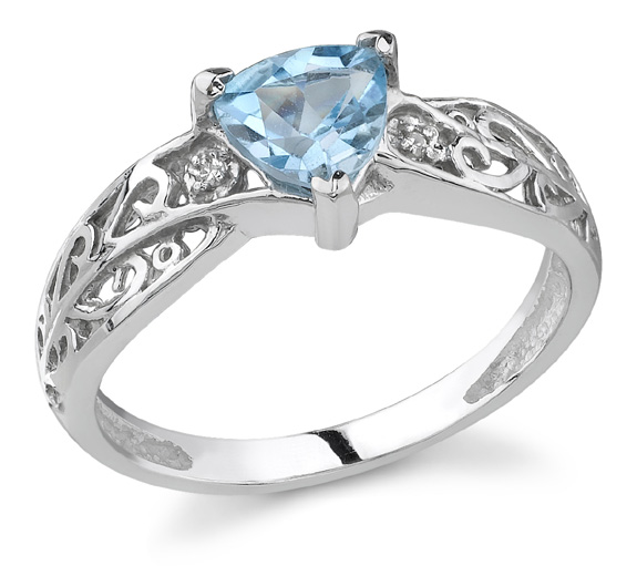 Trillion-Cut Blue Topaz and Diamond Ring, 14K White Gold