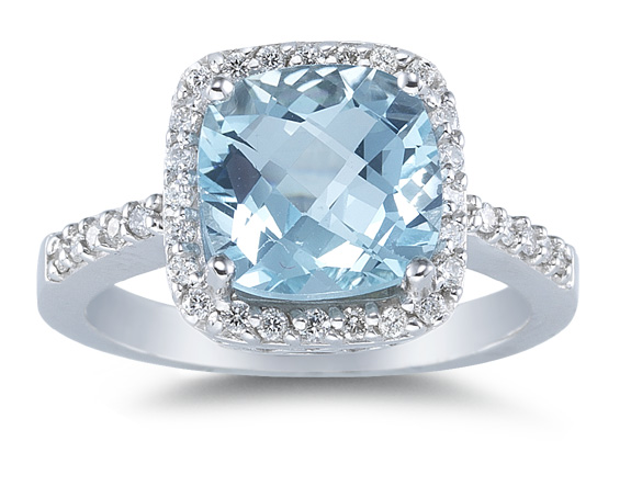 1/3 Carat Diamond and Aquamarine Ring, 14K White Gold