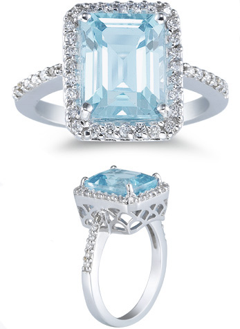 2.70 Carat Aquamarine and 0.28 Carat Diamond Ring