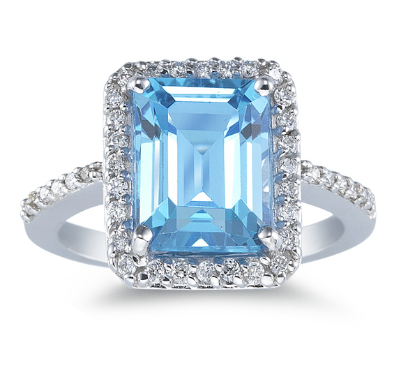 Sky Blue 10mm x 8mm Topaz and Diamond Ring, 14K White Gold