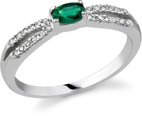 "Buy Emerald and Diamond ""Hope"" Ring, 14K White Gold"