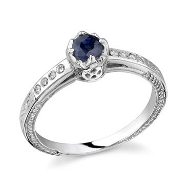 Buy Genevieve Blue Sapphire and Diamond Ring, 14K White Gold