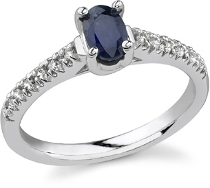Buy Isabell Blue Sapphire and Diamond Ring, 14K White Gold
