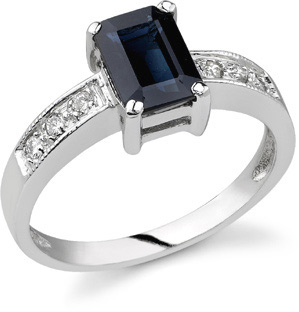 Emerald-Cut Sapphire and Diamond Ring, 14K White Gold