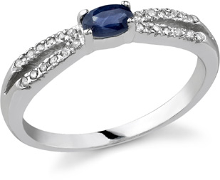"Buy Sapphire and Diamond ""Hope"" Ring, 14K White Gold"