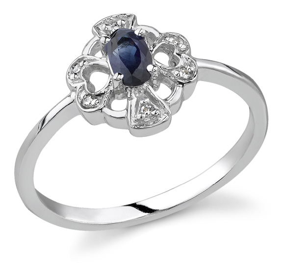 Heart and Cross Sapphire Diamond Ring, 14K White Gold