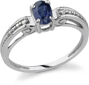 Renaissance Sapphire and Diamond Ring, 14K White Gold (Apples of Gold)