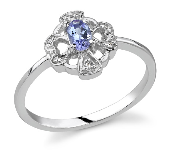 Cross and Heart Tanzanite and Diamond Ring, 14K White Gold