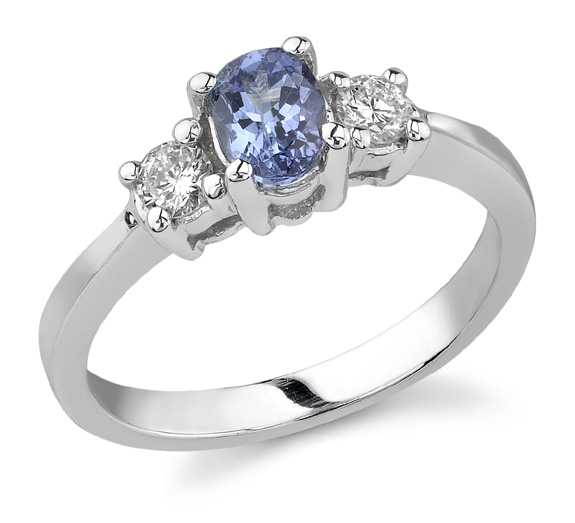 Three Stone Diamond and Tanzanite Ring, 14K White Gold