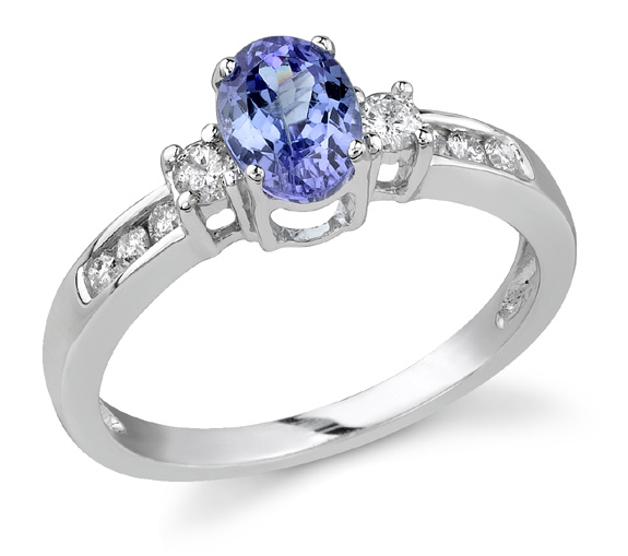 Buy Royal Tanzanite and Diamond Ring, 14K White Gold