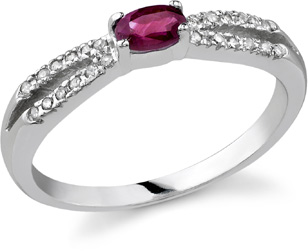 "Buy Ruby and Diamond ""Hope"" Ring, 14K White Gold"