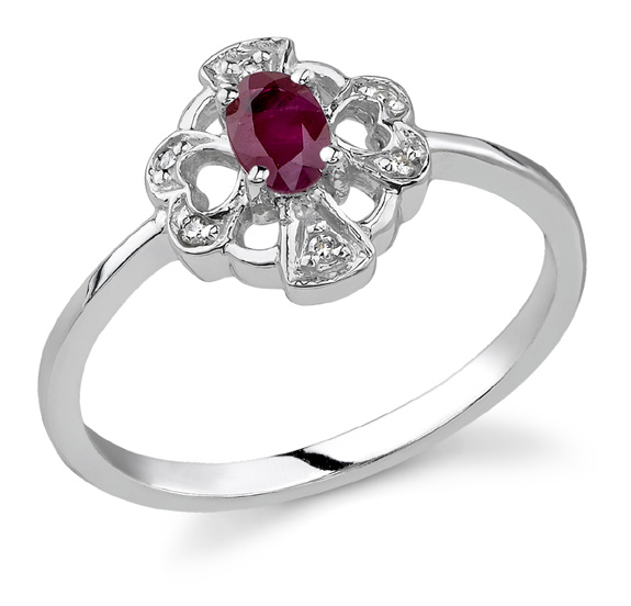 cross and heart ruby ring