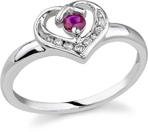 Buy Diamond Heart Ruby Ring, 14K White Gold