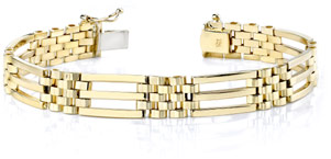 14K Gold Men's Link Design Bracelet