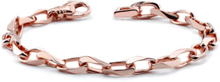 Men's 14K Rose Gold Angular Link Bracelet